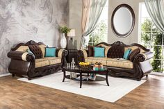"""2 pc Wexford traditional style 2 tone beige gold fabric colored Sofa and Love seat set with fabric cushions and leather like vinyl arms and back. Sofa measures 96"""" x 37"""" x 41"""" , Love seat measures 74"""" x 37"""" x 41"""" .  Some assembly required."""
