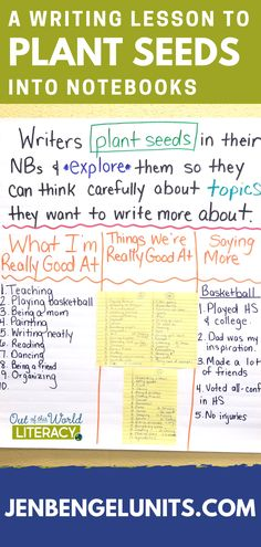 Help your students plant seeds in their writer's notebooks by modeling.  Begin by making a list of things you are really good at.  Ask the class to make lists.  Then choose 1-2 on your list to write more about.  Students can plant a few seeds in their notebooks and make lists.  This will help them build their writing stamina and get them excited about writing!