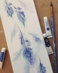 Cling onto your flight #feathers #plumage #watercolorfeather #blueandpurple #watercolour #art #painting #peacockfeather #bluebird