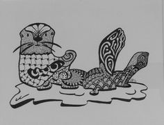 Zentangle sea otter for a secret santa gift for my daughter.