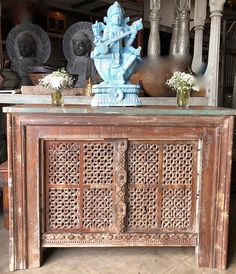 Vintage Indian Console Table distressed wood table