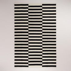 Black and White Striped Dhurrie Rug - this is such a chic look in the nursery, kids room and play room!