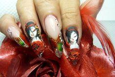 Obsesion Oriental design by ProMaster Nail Tech Ricky Lara 3d Nail Art, Nail Arts, Really Cute Nails, Oriental Design, Cute Nail Designs, Nail Tech, Toe Nails, You Nailed It, Finger