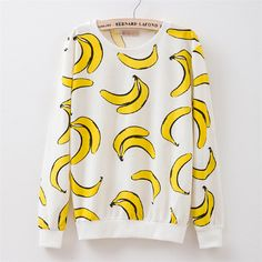 New 2017 autumn style Hoodies women Banana print women's o-neck tracksuits Hoodies harajuku women Sweatshirts