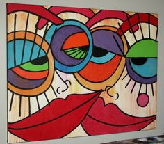 Abstract Face Art, Abstract Portrait, Abstract Canvas, Wal Art, Cubist Art, Art Africain, Arte Pop, Painting Edges, Pics Art