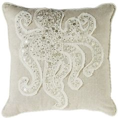 Go coastal. This glittering beaded and sequined accent pillow showcases the elusive octopus in all its eight-tentacled glory. Appliqued on sand-colored cotton velvet with piped edge, it's perfect for home or beach house.