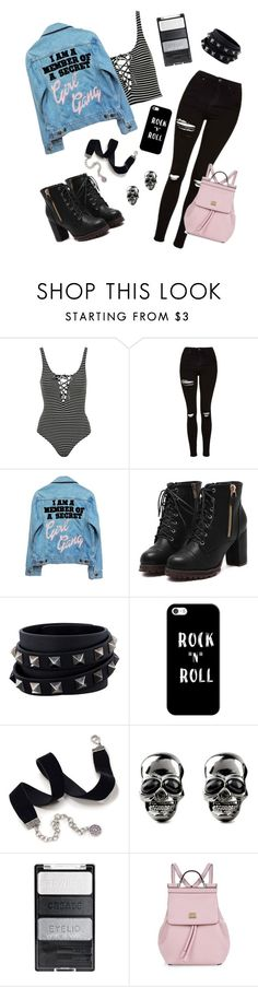 """""""ROCK """"N"""" ROLL"""" by m-phil ❤ liked on Polyvore featuring Topshop, High Heels Suicide, Valentino, Casetify, Sweet Romance, Dolce&Gabbana, rockerchic, contestentry and rockerstyle"""