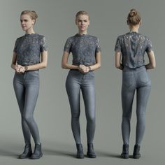 Buy Grey Outfit Girl Casual Pose by PolygonalMiniatures on Have you ever rendered an interior and wondered: Hmm, how can I give an accurate indication of size? Female Pose Reference, Pose Reference Photo, Figure Reference, Character Turnaround, Anatomy Poses, Modelos 3d, Human Poses, Body Poses, Grey Outfit