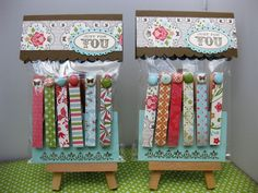 Craft Fair idea - clothespin fridge magnets  Six for $5.  Cost of supplies aprox. 40 cents.  The packaging is so important!  http://bluejellystampin.blogspot.co.uk/2012/07/ready-for-summer-crafting-show.html