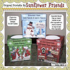 Snowmen Cupcake Boxes via Sunflower Friends