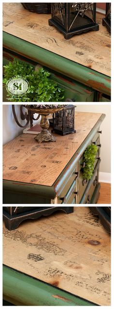 Fix up old furniture by creating a vintage top using tissue paper and dark wax! #decoupage