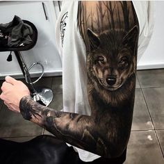 Dark black&grey wolf sleeve tattoo