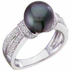 14 Kt White Gold Freshwater Cultured Black Pearl Ring