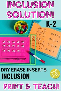 Be prepared for ANYTHING inside the inclusion classroom with these differentiated dry erase inserts! Print and teach with these math and literacy pages in your K-2 students. From Positively Learning Blog #inclusion #differentiation