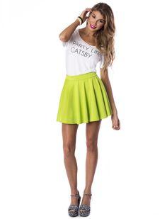 Electric Lime Skater Skirt #skaterskirt #skater #skirt #lime #lemon #flowy #style #chic #summer