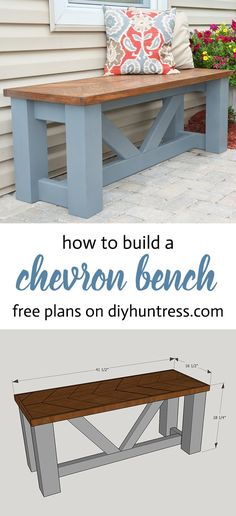 Woodworking Plans FREE PLANS - Build a Wooden Chevron Topped Bench! - Learn how to make a stylish and beautiful wooden bench with decorative angles with FREE woodworking plans from DIY Huntress. Learn Woodworking, Popular Woodworking, Woodworking Ideas, Woodworking Patterns, Youtube Woodworking, Woodworking Workbench, Woodworking Workshop, Grizzly Woodworking, Woodworking Articles