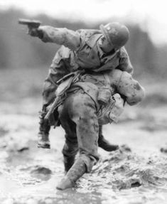 Great shot of WWII action, the bravery of American soldiers and the love of their fellow soldiers.