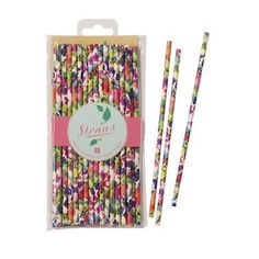 Paper drinking straws will add a festive retro-style to your party. These paper straws are decorated with pretty flower patterns in bright colors. They are part