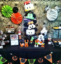 Mickey Mouse not so scary Halloween Birthday Halloween First Birthday, Mickey Halloween Party, Mickey Party, Disney Birthday, Mickey Mouse Birthday, Disney Halloween, Baby Halloween, Birthday Themes For Boys, 2nd Birthday Parties