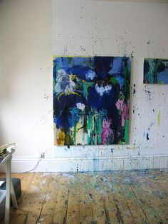Private Gardens #4 Irises -Today Is A Good Day (studio wall) caroline havers