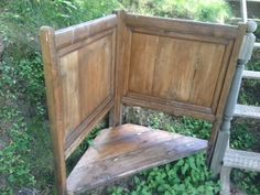 an unwanted single bed becomes a much-loved corner bench for the garden terrace, Barga - Italy