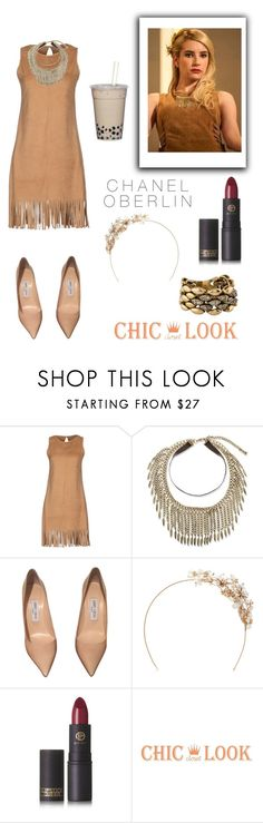 """Get the look: Chanel Oberlin Scream Queens"" by glamjournal ❤ liked on Polyvore featuring Twenty Easy By Kaos, Steve Madden, Jimmy Choo, RTR Bridal Accessories and Lipstick Queen"