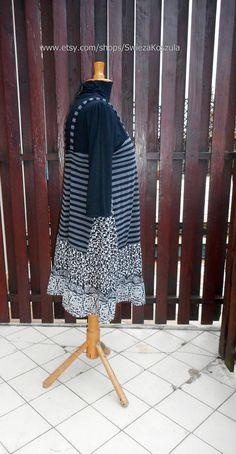 L Babydoll Tunic Dress Boho Bohemian Patchwork Artistic