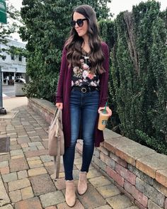 Casual outfit   Floral cami & burgundy sweater - this is such a lovely look. I love the floral print of the camisole (perfect fall floral print) and I'm in the market for a cozy, long cardigan (so long as it wouldn't overwhelm my shorter frame)