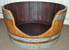 Cabernet Wine Barrel Pet Bed from Napa Valley, Wine Barrel Furniture for Dogs, Wine Barrel Furniture for Cats, Customized Engraved Name Tags Rustic Dog Beds, Red Wine Stains, Wine Barrel Furniture, Steel Barrel, Diy Dog Bed, Wine Case, Medium Sized Dogs, Pet Furniture, Wine Gifts