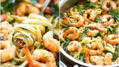 Fettuccine s krevetami a česnekem Foto: Linguine, Mozzarella, Shrimp, Meat, Ethnic Recipes, Food, Turmeric, Beef, Meal