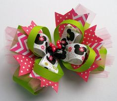 Minnie Lime and Pink Boutique Girls Hair Bow