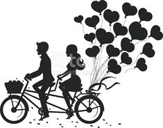 Romantic couple man and woman on a date driving tandem bike with heart balloons silhouette Couple Silhouette, Silhouette Painting, Bird Silhouette, Silhouette Vector, Cute Couple Drawings, Anime Couples Drawings, Ciel Art, Couple Noir, Bike Drawing