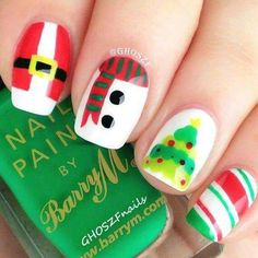 Christmas themed nails - bright colours