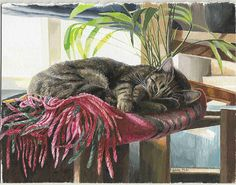 Cat by Celia Pike Pike Art, Cat Wallpaper, Horse Art, Dog Art, Crazy Cats, Art Images, Cats And Kittens, Cute Cats, Cat Lovers