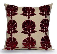 Palmette Floral Velvet Applique Pillow Cover Linen by AmoreBeaute