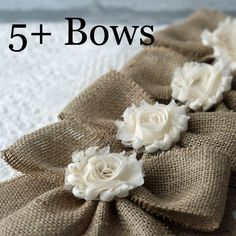 Small Handmade Burlap Bows Flower Center by CottonRidgeEmporium