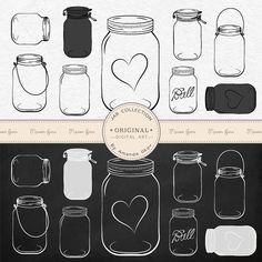 Professional Chalkboard Mason Jar Clip Art / Jar by AmandaIlkov