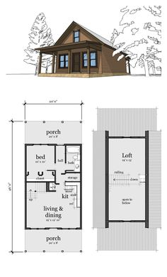 Narrow Lot Home Plan 67535 | Total Living Area: 860 sq. ft., 2 bedrooms & 1 bathroom. A small cabin with a bedroom and loft.