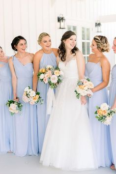Kate and Jonathan are married!  | Catherine Smeader Houston Wedding Photography | Kate and her bridesmaids shared special moments before the summer wedding ceremony and the bride and bridesmaids photos featured their long blue mismatched bridesmaids dresses, bridesmaid updos and bouquets that complemented the bride's light pink, blush and white bridal bouquet. | Wedding Dress | Bridesmaids and Bride | Blue Bridesmaids Dresses #bridesmaids #bride #houstonwedding #houstonweddingphotographer Mismatched Bridesmaid Dresses, Bridesmaids And Groomsmen, Wedding Bridesmaid Dresses, Bouquet Wedding, Wedding Ceremony, Wedding Dress, Wedding First Look, Bridesmaid Inspiration, Bridal Photoshoot