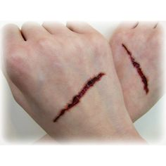 slit gash fake wound temporary tattoos halloween costume accessories 5 - Halloween Fake Wounds