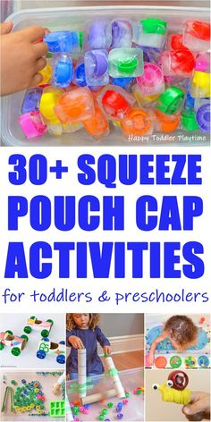 30 Squeeze Pouch Cap Activities - HAPPY TODDLER PLAYTIME Looking for fun ways to learn and play with squeeze pouch caps? Check out this amazing list of squeeze pouch cap activities for your toddler or preschooler! Toddler Learning Activities, Indoor Activities For Kids, Motor Activities, Sensory Activities, Infant Activities, Family Activities, Toddler Activity Bags, Sensory Play, Toddler Play