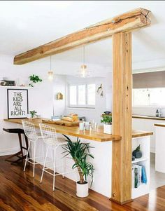 Küche, Holzbalken integrieren