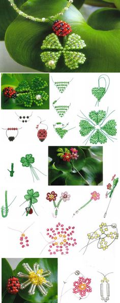 Clover for good luck Pendants and Brooches For clover need to take:  - Light green beads  - Light green beads transparent  - A gem  - Green wire  For the ladybug must take:  - Beads red  - Black beads  - Wire neutral color 0.3 mm  https://translate.google.com.pr/translate?hl=es-419&sl=ru&tl=en&u=http%3A%2F%2Fbiserok.org%2Fklever-na-schaste%2F     http://biserok.org/klever-na-schaste/