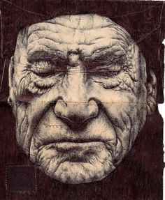 Envelope Drawings - by Mark Powell - London - has chosen backs of old envelopes as a canvas for delicately rendered portraits of the elderly, using a standard Bic Biro pen to create delicate folds & wrinkles Amazing Drawings, Amazing Art, Awesome, Portrait Art, Portraits, Biro Drawing, Pen Drawings, Mark Powell, Ballpoint Pen Art