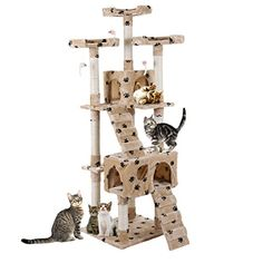 """67""""JAXPETY Cat Tree Condo Scratching Post Play House 3 Viewing Platforms Beige with footprints"""