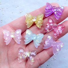 Confetti Ribbon Cabochons | Translucent Bow Cabochon | Resin Cabochon | Kawaii Jewelry Making | Phone Case Decoden Supplies (7pcs / Assorted Mix / 22mm x 17mm)