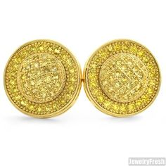 Canary Lemonade Micropave Domed Circle CZ Earrings