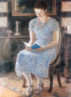 frederick carl frieseke(1874-1939), blue girl reading, 1935. oil on canvas, 134.62 x 96.52 cm. private collection
