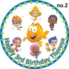 EDIBLE Bubble Guppies Cake Topper #2 PERSONALIZED Round birthday party guppy
