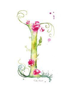 Letter I - Watercolor Monogram - Flower Lettering - Watercolor Letter Print - Watercolor Initial